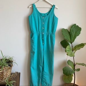 Vtg Hand Made Jumpsuit Rompers Turquoise 6